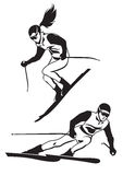 Two skiers on track Stock Images