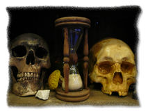 Two skull with clock. Two skulls with clock as a old picture Royalty Free Stock Photography