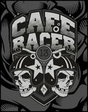 Two skull helmet cafe racer vector illustration