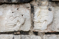 Two skulls carved on the Tzompantli or Skull Platform Stock Images