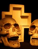 Two Skulls and cross royalty free stock photo