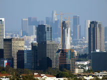 Two Skylines. Century City and Downtown Los Angeles form a double skyline in the afternoon sun Stock Photo