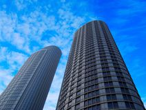 Two skyscrapers. Against blue sky Royalty Free Stock Images
