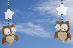 Two Sleeping Felt Owls on Baby Cot Mobile Royalty Free Stock Photo
