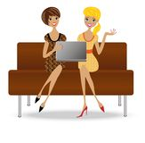 Two slender business woman with notebook Stock Photos