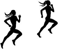 Two slender female runner Stock Image