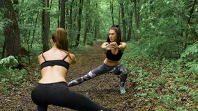 Two slender fitness girl in the forest. Brunettes practice exercises on the path, they perform squats to stretch. Slow motion stock footage