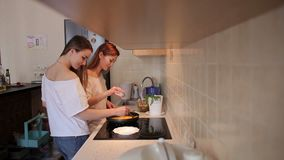 Two slender girls prepare an omelet at home in the kitchen in the morning. Two slender girls prepare an omelet at home in the kitchen in the morning, they break stock video footage