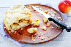 Two slice of apple pie on a plate remained Royalty Free Stock Image