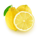 Two and a slice isolated lemons Stock Images