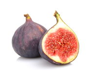 Two sliced figs isolated on white background Royalty Free Stock Photos