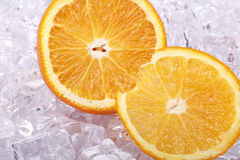 Two sliced orange on a piece of ice. Sliced orange on a piece of ice Royalty Free Stock Image