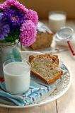 Two Slices of Apple Cake with a Glass of Milk Stock Photos