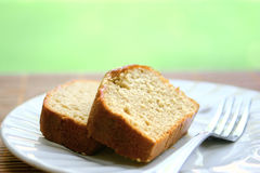 Two slices of banana cake Stock Images
