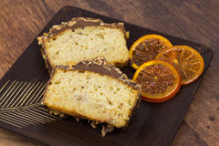 Two slices of banana cake on the wooden plate Royalty Free Stock Photography