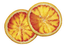 Two slices of blood orange, elevated view, close-up Stock Image