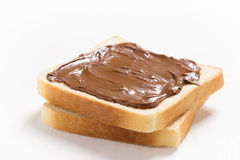 Two slices of bread with chocolate hazelnut spread Stock Image
