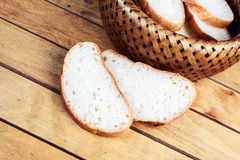 Two slices of bread near wicker breadbascked Stock Photos