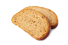 Two slices of bred on white Royalty Free Stock Photography