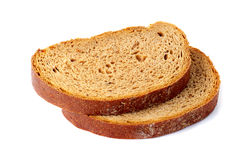 Two slices of bred on white Stock Photography