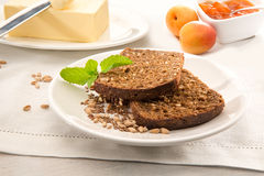 Two slices of brown bread Stock Photography