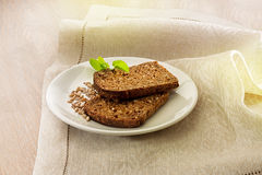 Two slices of brown bread Royalty Free Stock Photo