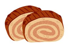 Two slices of chocolate rolls. Illustration royalty free illustration