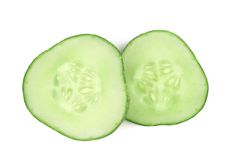 Two slices of fresh cucumber. Stock Photo