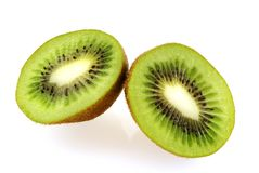 Two slices of fresh juicy kiwi fruit Stock Photos