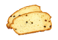 Two slices of fresh raisin bread. Two slices of freshly baked raisin bread on a white background Stock Photography