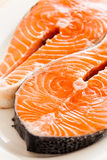 Raw salmon. Two slices of fresh raw salmon ready to cook Royalty Free Stock Image