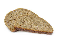 Two slices of fresh rye bread Royalty Free Stock Images