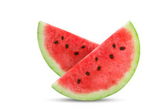 Two slices of fresh watermelon isolated on white background.object. Royalty Free Stock Photography
