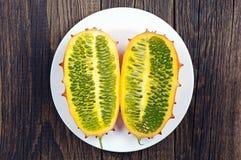 Two slices of fruit Kiwano Stock Photos