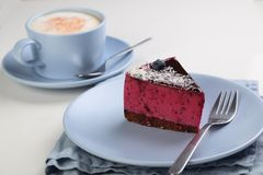 Fruit souffle cake with coffee Royalty Free Stock Photo