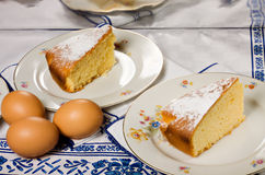 Two slices of lemon cake Stock Photography