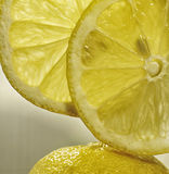 Two slices of lemon fruit on the lemon peel at vertical close up.  Stock Photo