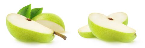 Free Two Slices Of Green Pear Fruit Isolated On White Background Royalty Free Stock Photography - 191302227