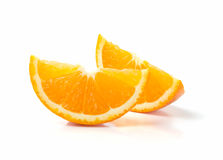 Two Slices of Orange. Isolated on White Background Royalty Free Stock Images