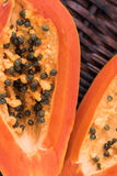 Two slices of papaya Stock Photo