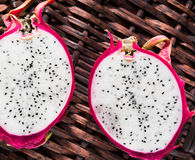 Two slices of pitahaya Stock Image