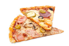 Two Slices of Pizza Isolated Royalty Free Stock Photography