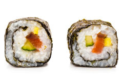 Two slices of roll with salmon Stock Images