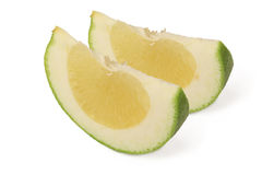 Two slices of sweet green Pomelo (grapefruit) Royalty Free Stock Photography