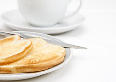 Two slices of toast with cup Stock Photo