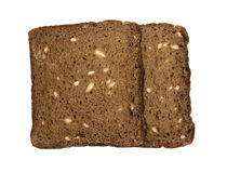 Two slices toasted 100% rye bread with sunflower seeds, without yeast Stock Photo
