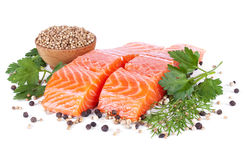 Two slices trout fillet whith spices on white Royalty Free Stock Image