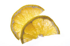 Two slices of ugli (citrus fruit), elevated view, close-up Stock Images