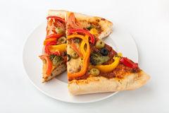 Two Slices of Vegetable Pizza royalty free stock image