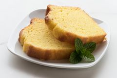 Two slices of lemon bread Stock Image